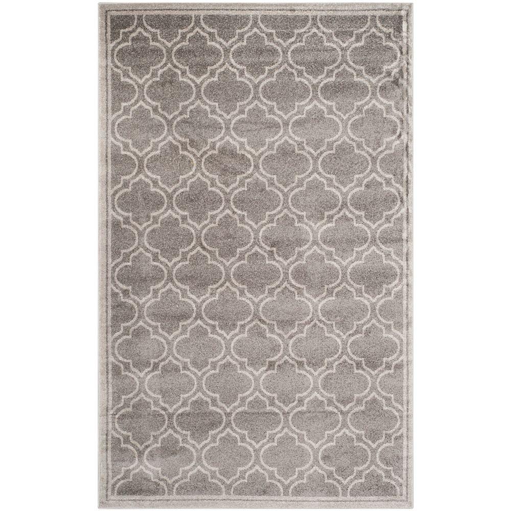 Safavieh Tapis d'intérieur/extérieur, 6 pi x 9 pi, Amherst Shirley, gris / gris clair