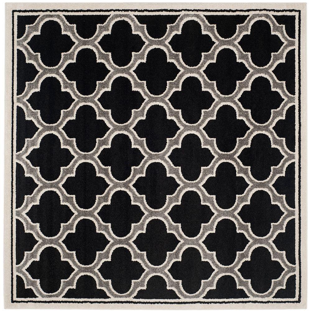 Safavieh Tapis d'intérieur/extérieur carré, 7 pi x 7 pi, Amherst Shirley, anthracite / ivoire