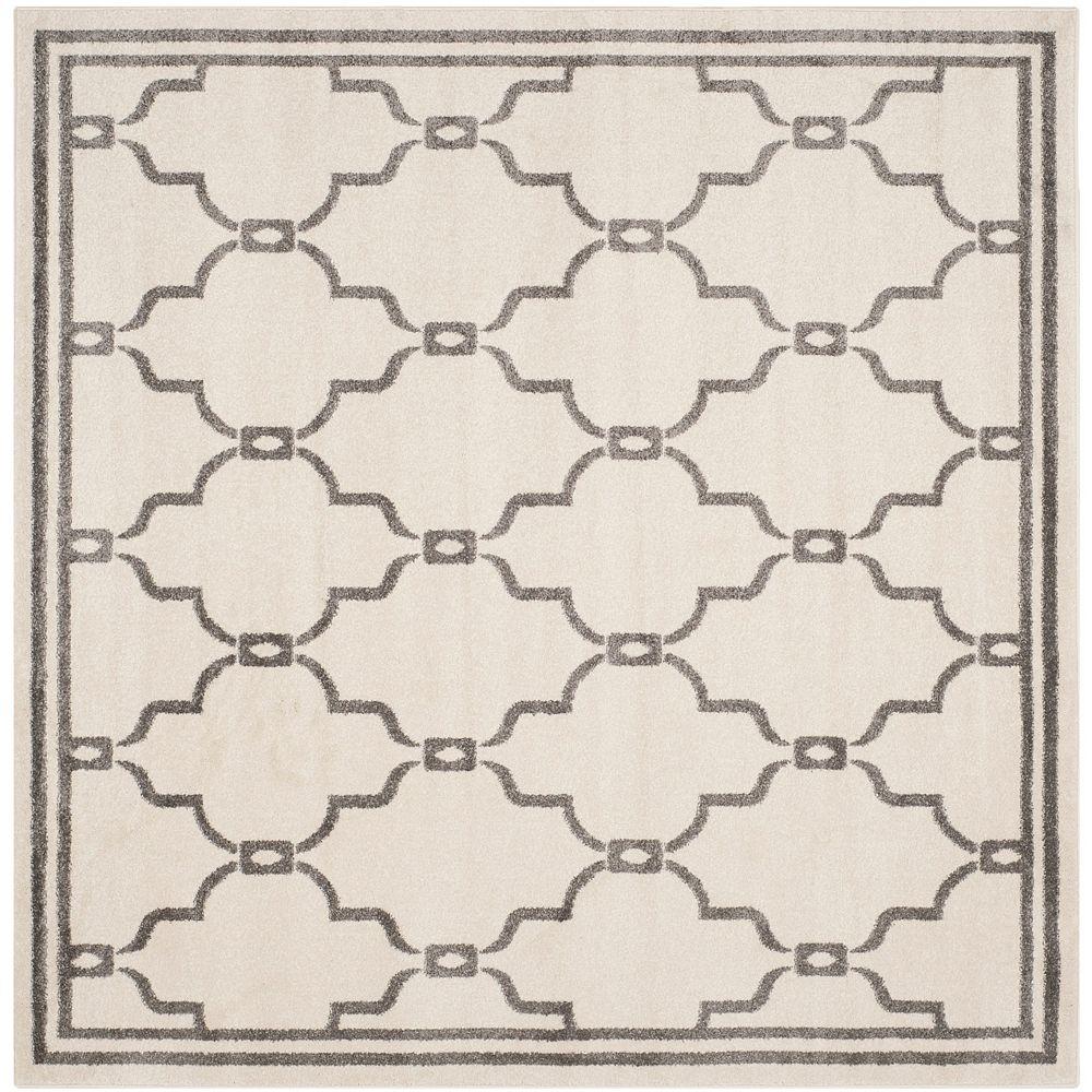 Safavieh Tapis d'intérieur/extérieur carré, 7 pi x 7 pi, Amherst Katie, ivoire / gris