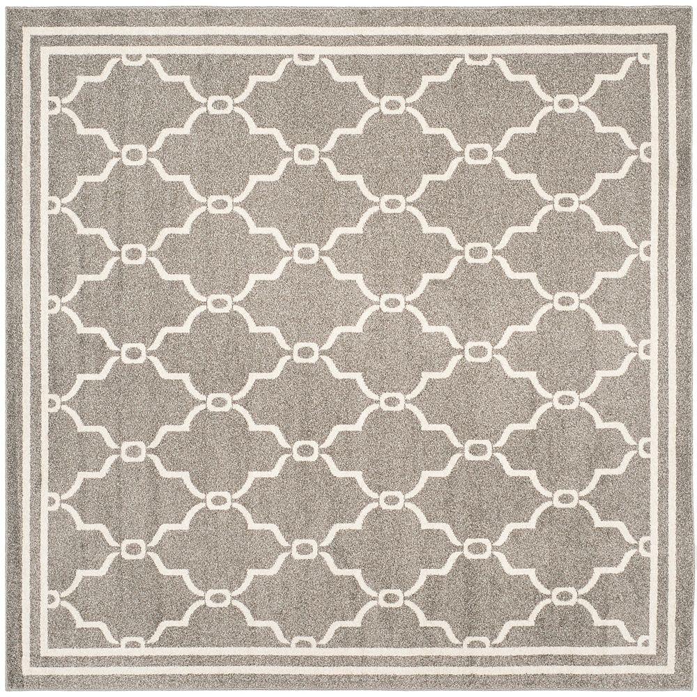 Safavieh Tapis d'intérieur/extérieur carré, 5 pi x 5 pi, Amherst Katie, dark gris / beige