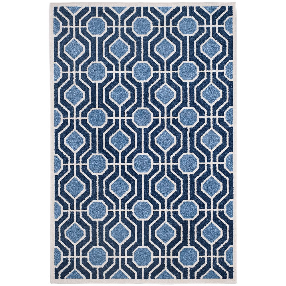 Safavieh Tapis d'intérieur/extérieur, 4 pi x 6 pi, Amherst Hayden, bleu clair / marin