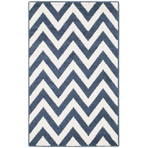 Amherst Paula Navy / Beige 2 ft. 6 inch x 4 ft. Indoor/Outdoor Area Rug