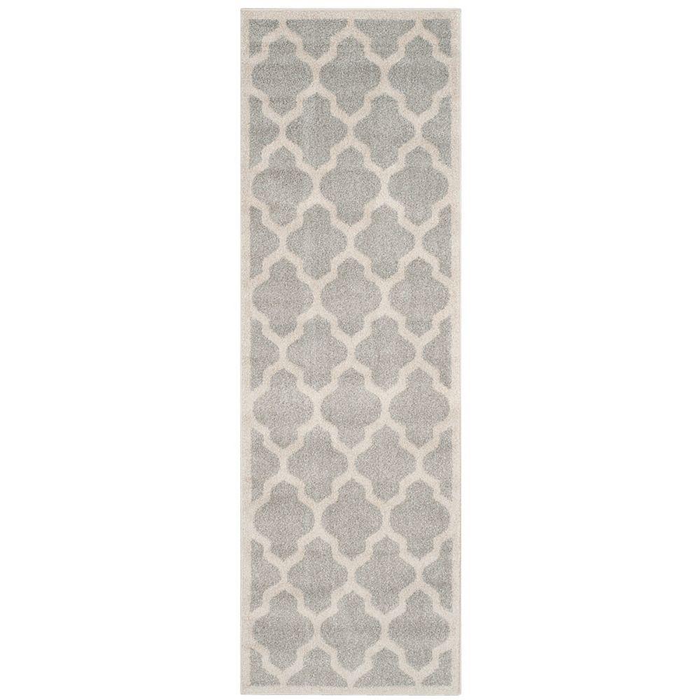 Safavieh Tapis de passage d'intérieur/extérieur, 2 pi 3 po x 11 pi, Amherst Bradford, gris clair / beige