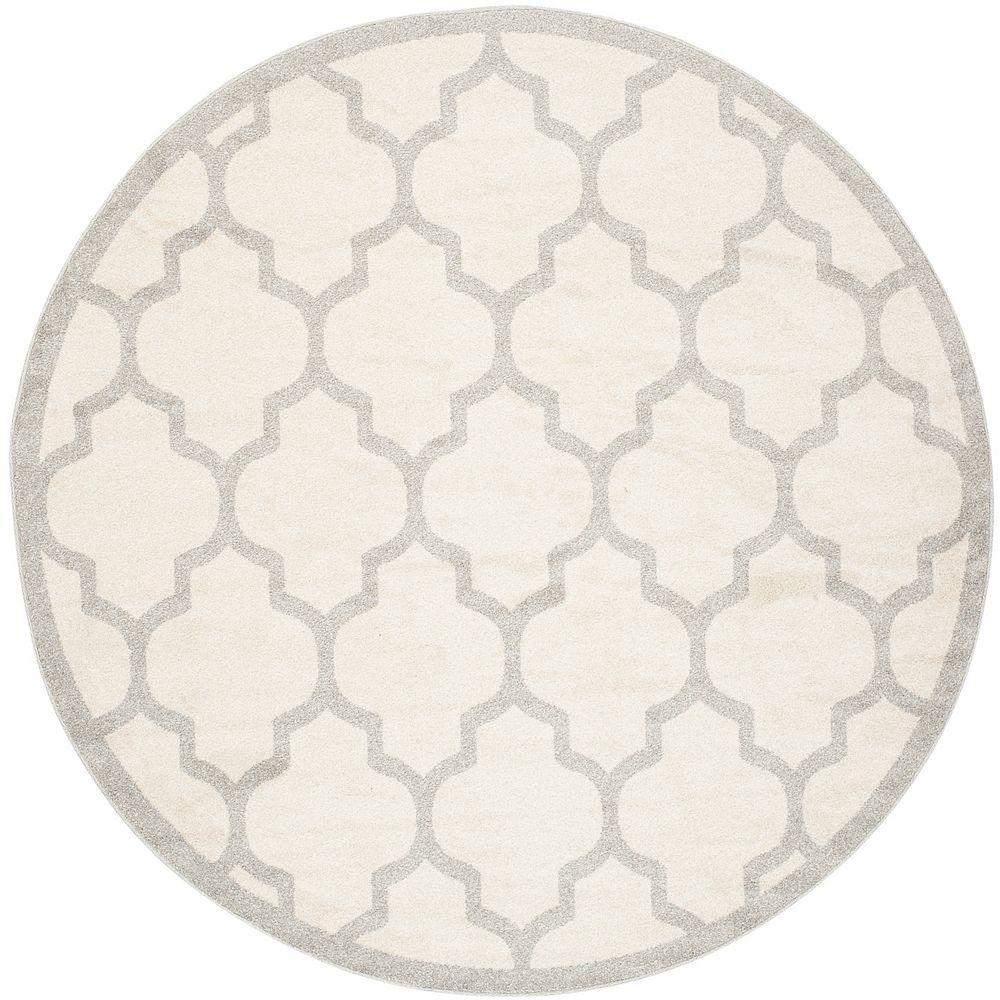 Safavieh Tapis d'intérieur/extérieur rond, 5 pi x 5 pi, Amherst Bradford, beige / gris clair