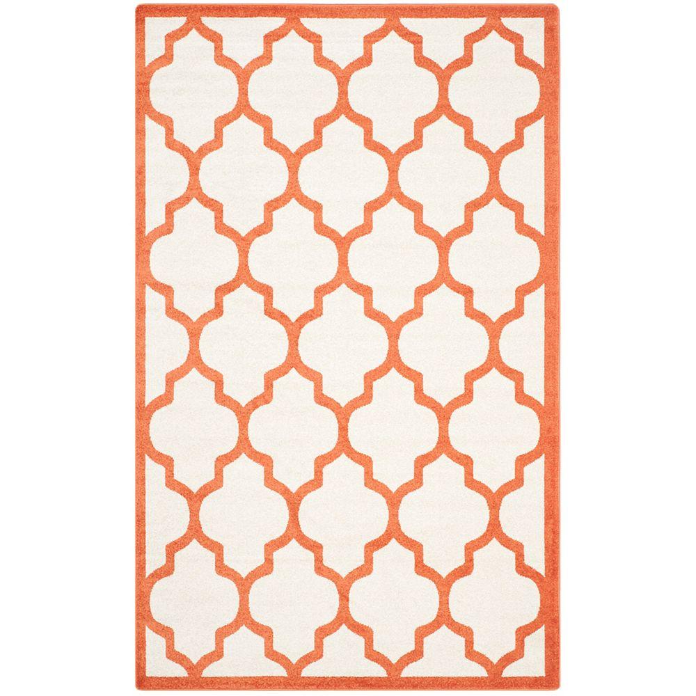 Safavieh Tapis d'intérieur/extérieur, 4 pi x 6 pi, Amherst Bradford, beige / orange