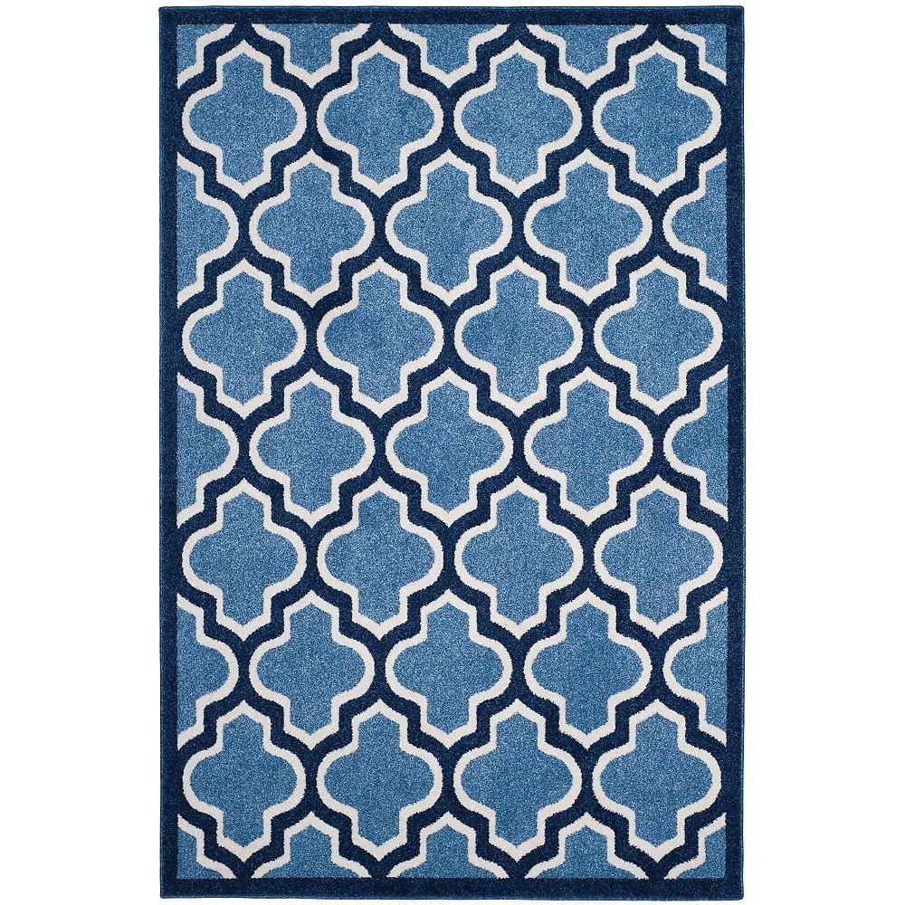Safavieh Tapis d'intérieur/extérieur, 4 pi x 6 pi, Amherst Bradford, bleu clair / marin