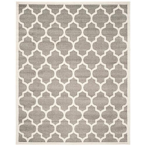 Carpette d'intérieur/extérieur AmherstBradford 8x 10pi, gris foncé et beige