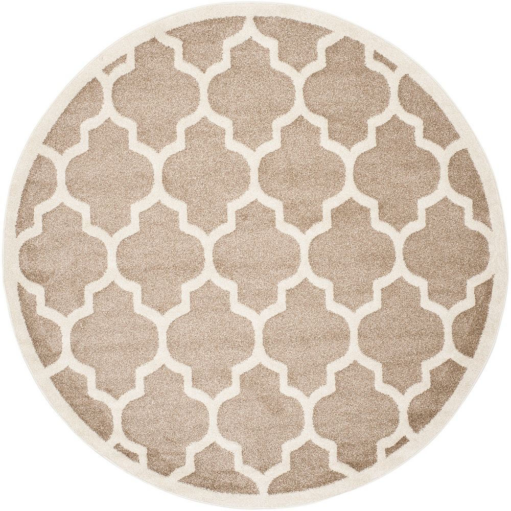 Safavieh Amherst Bradford Wheat / Beige 5 ft. x 5 ft. Indoor/Outdoor Round Area Rug
