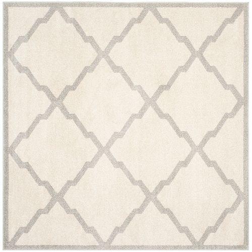 Safavieh Tapis d'intérieur/extérieur carré, 7 pi x 7 pi, Amherst Dina, beige / gris clair