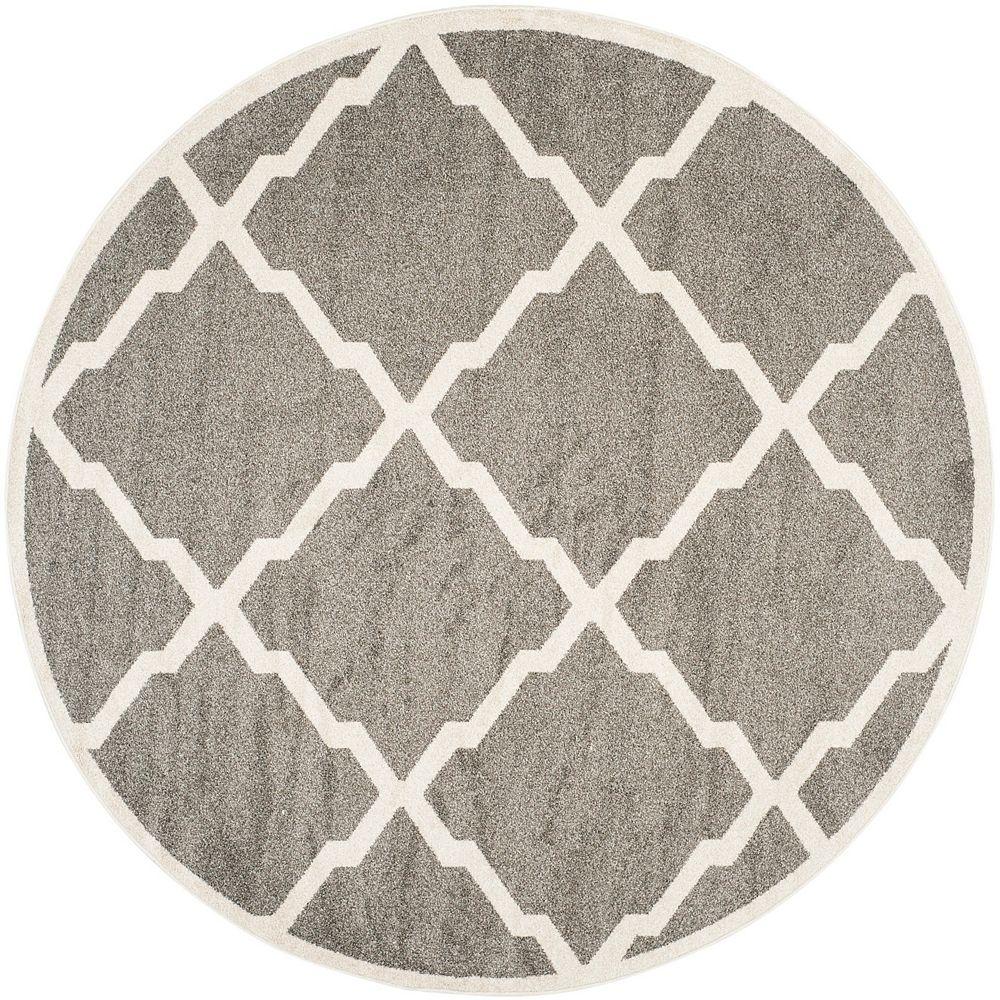 Safavieh Amherst Dina Dark Grey / Beige 5 ft. x 5 ft. Indoor/Outdoor Round Area Rug
