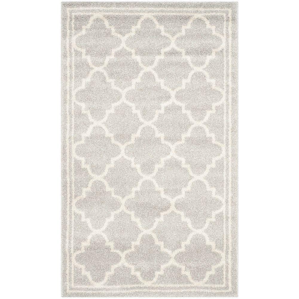 Safavieh Tapis d'intérieur/extérieur, 3 pi x 5 pi, Amherst Blanche, gris clair / beige