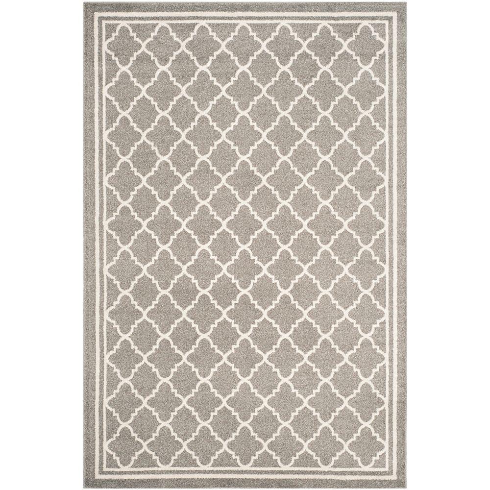 Safavieh Tapis d'intérieur/extérieur, 4 pi x 6 pi, Amherst Blanche, dark gris / beige