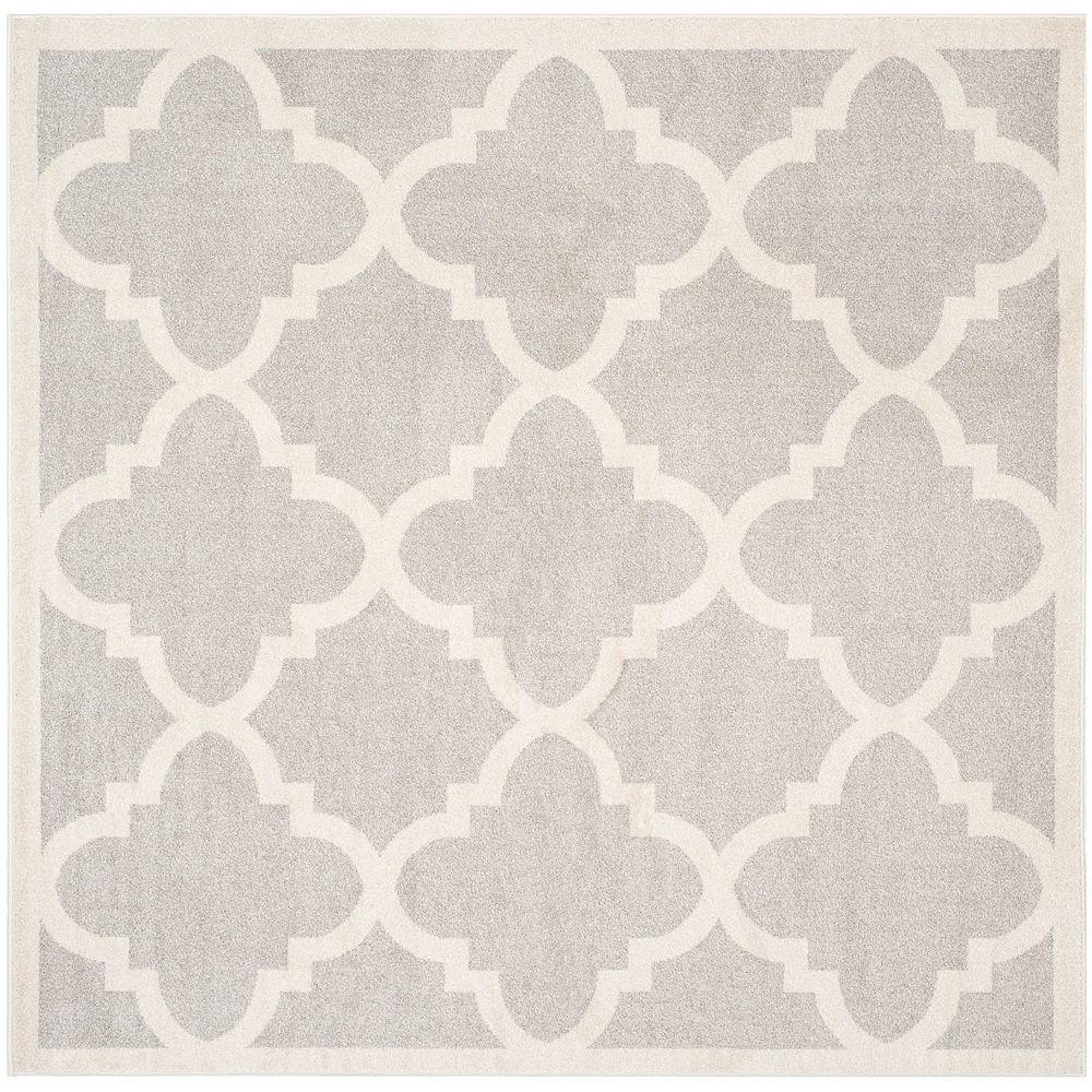 Safavieh Tapis d'intérieur/extérieur carré, 5 pi x 5 pi, Amherst Aidan, gris clair / beige