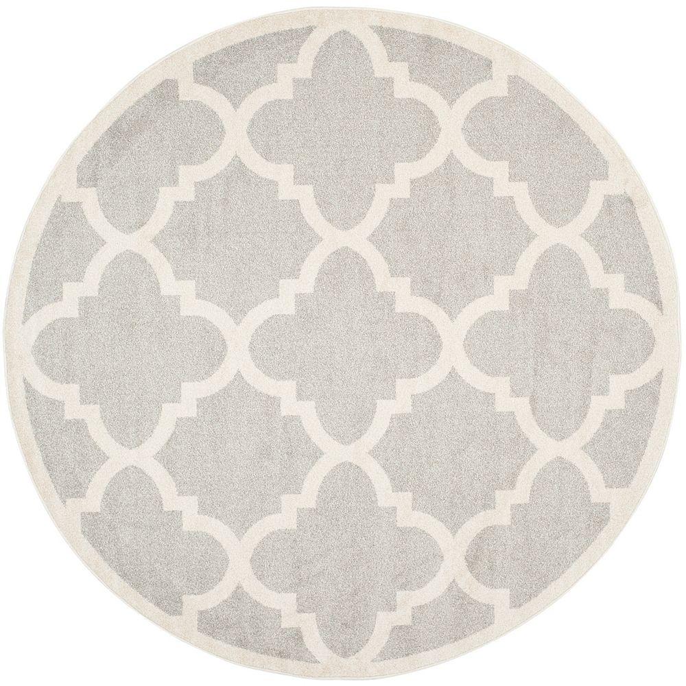 Safavieh Amherst Aidan Light Grey / Beige 7 ft. x 7 ft. Indoor/Outdoor Round Area Rug