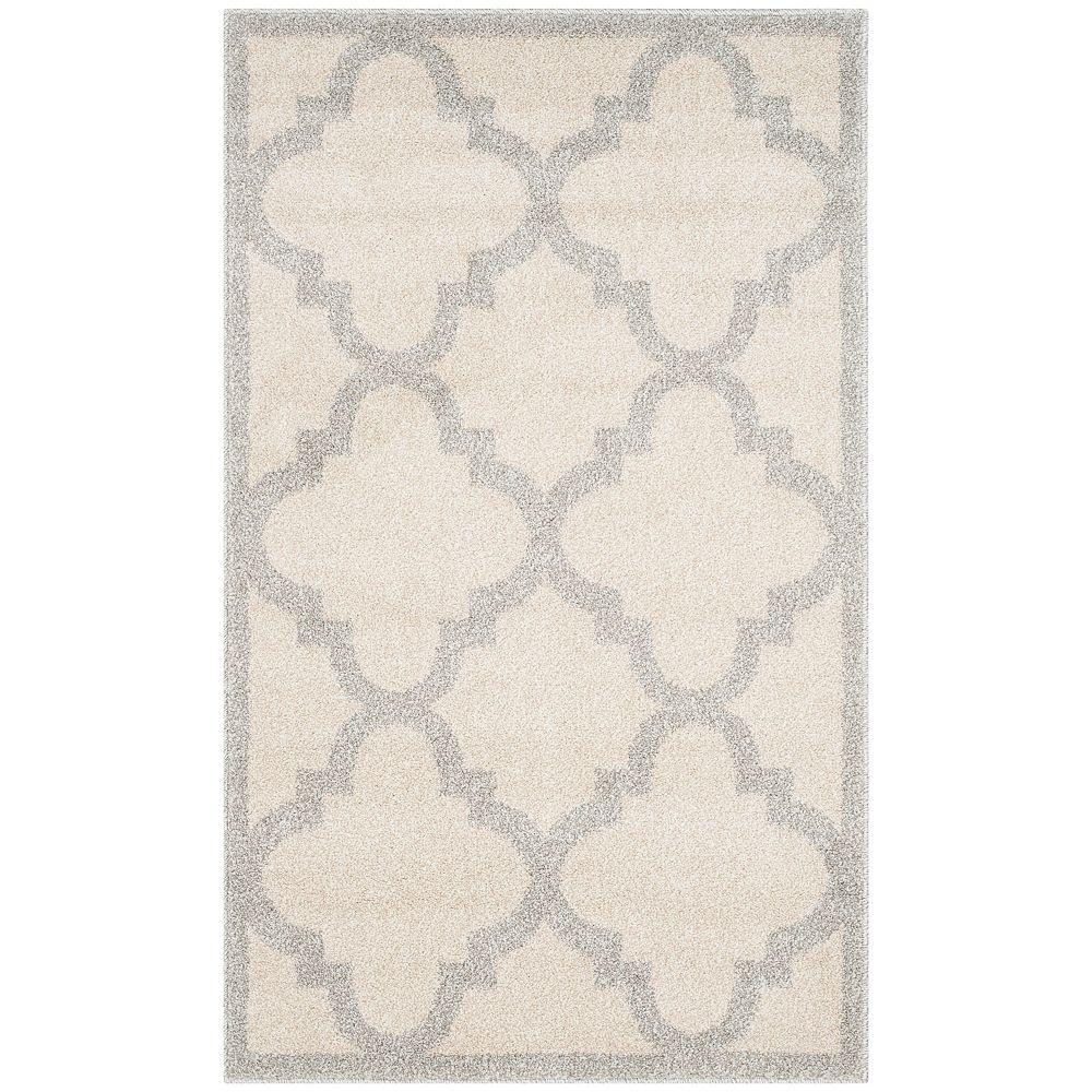 Safavieh Tapis d'intérieur/extérieur, 2 pi 6 po x 4 pi, Amherst Aidan, beige / gris clair