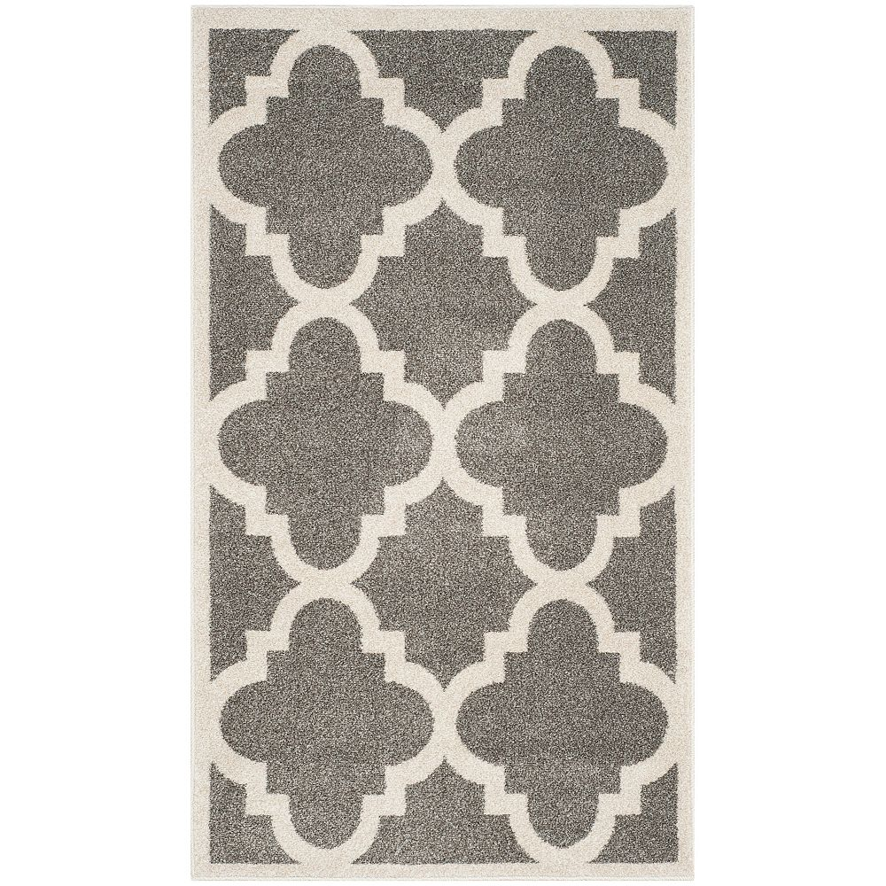 Safavieh Tapis d'intérieur/extérieur, 3 pi x 5 pi, Amherst Aidan, dark gris / beige