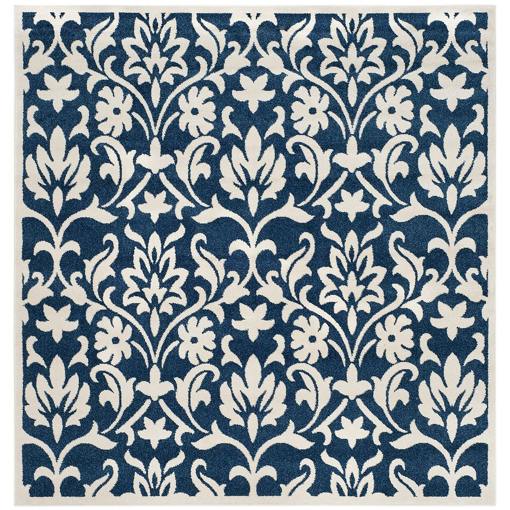 Safavieh Amherst Seth Navy / Ivory 7 ft. x 7 ft. Indoor/Outdoor Square Area Rug