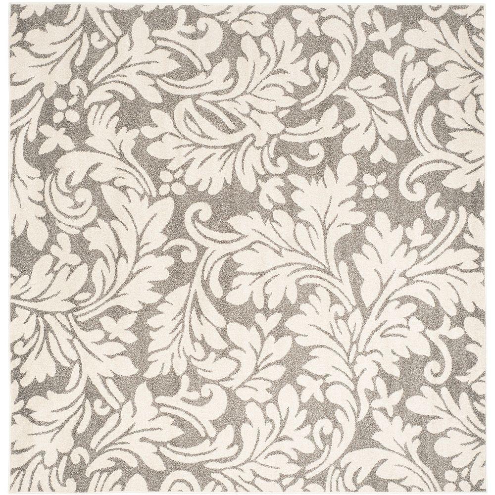 Safavieh Tapis d'intérieur/extérieur carré, 7 pi x 7 pi, Amherst Chase, dark gris / beige