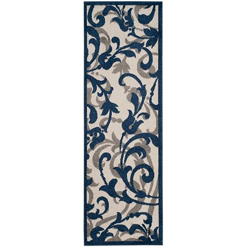 Amherst Elaine Ivory / Navy 2 ft. 3 inch x 7 ft. Indoor/Outdoor Runner