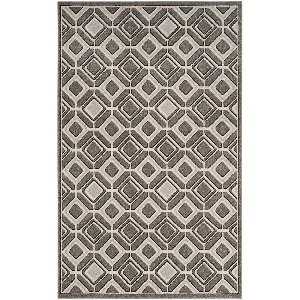 Safavieh Tapis d'intérieur/extérieur, 6 pi x 9 pi, Amherst Trenton, gris / gris clair