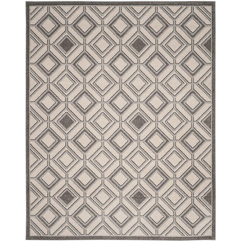 Safavieh Tapis d'intérieur/extérieur, 8 pi x 10 pi, Amherst Trenton, ivoire / gris clair