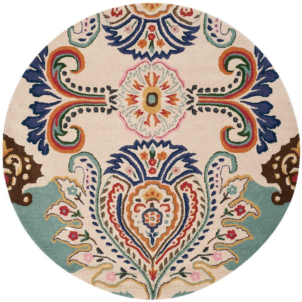 Safavieh Tapis d'intérieur rond, 7 pi x 7 pi, Bella Manuel, ivoire / bleu