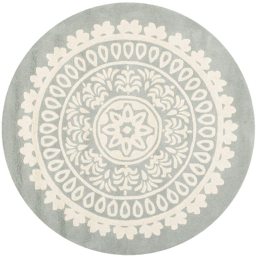 Safavieh Tapis d'intérieur rond, 7 pi x 7 pi, Bella Jon, gris / ivoire