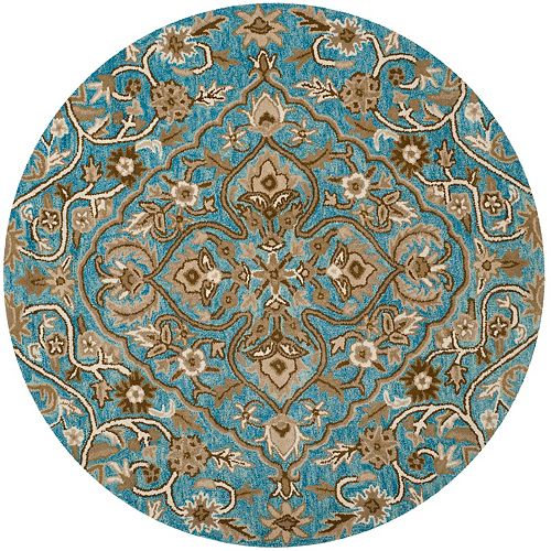 Safavieh Bella Eason Blue / Taupe 5 ft. x 5 ft. Indoor Round Area Rug