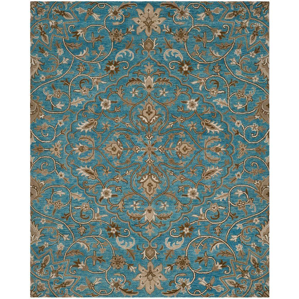 Safavieh Tapis d'intérieur, 6 pi x 9 pi, Bella Eason, bleu / taupe