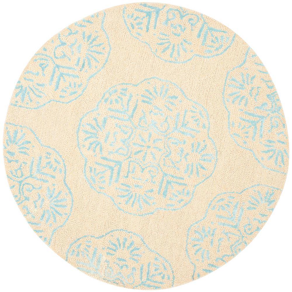 Safavieh Tapis d'intérieur rond, 5 pi x 5 pi, Bella Duncan, beige / bleu