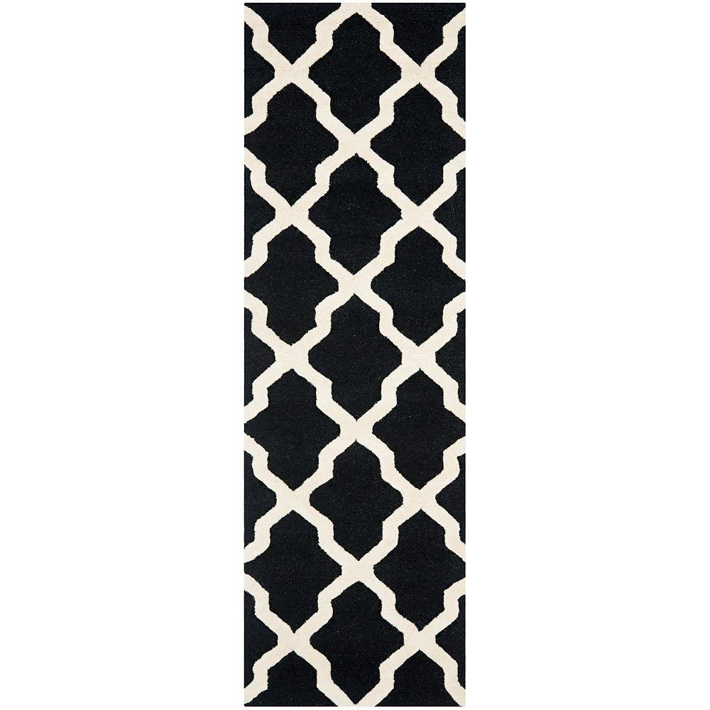 Safavieh Tapis de passage d'intérieur, 2 pi 6 po x 12 pi, Cambridge Giselle, noir / ivoire