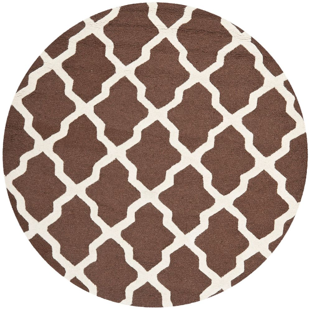 Safavieh Cambridge Giselle Dark Brown / Ivory 4 ft. x 4 ft. Indoor Round Area Rug