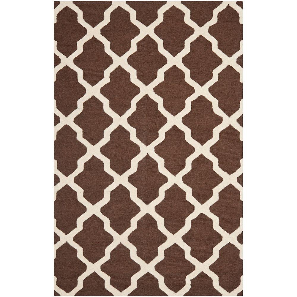 Safavieh Tapis d'intérieur, 5 pi x 8 pi, Cambridge Giselle, brun foncé / ivoire