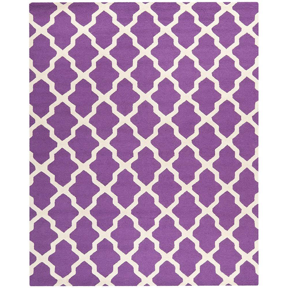 Safavieh Tapis d'intérieur, 8 pi x 10 pi, Cambridge Giselle, violet / ivoire