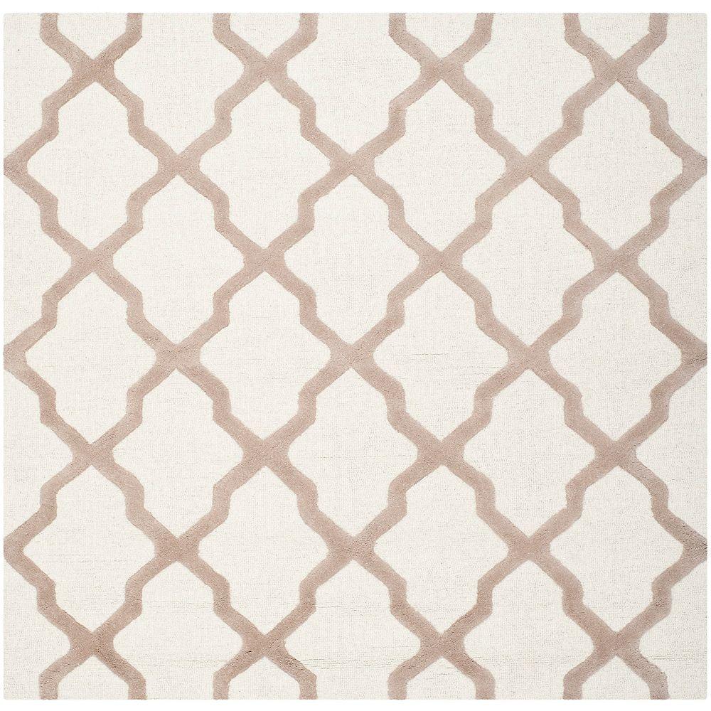 Safavieh Tapis d'intérieur carré, 4 pi x 4 pi, Cambridge Giselle, ivoire / beige