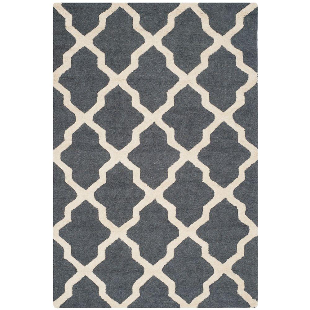 Safavieh Tapis d'intérieur, 4 pi x 6 pi, Cambridge Giselle, dark gris / ivoire