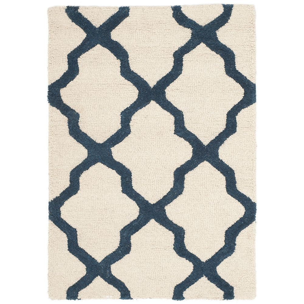 Safavieh Tapis d'intérieur, 3 pi x 5 pi, Cambridge Giselle, ivoire / marin