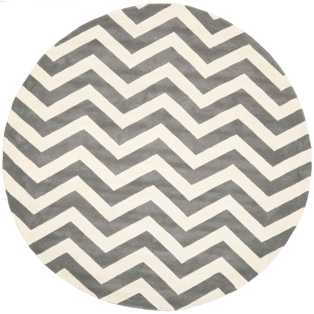 Safavieh Chatham Lara Dark Grey / Ivory 7 ft. x 7 ft. Indoor Round Area Rug