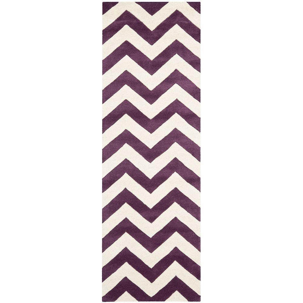 Safavieh Tapis de passage d'intérieur, 2 pi 3 po x 9 pi, Chatham Lara, violet / ivoire