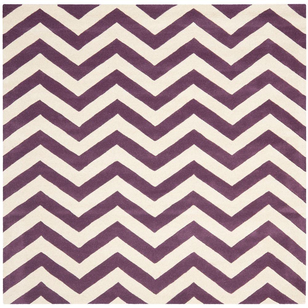 Safavieh Chatham Lara Purple / Ivory 9 ft. x 9 ft. Indoor Square Area Rug