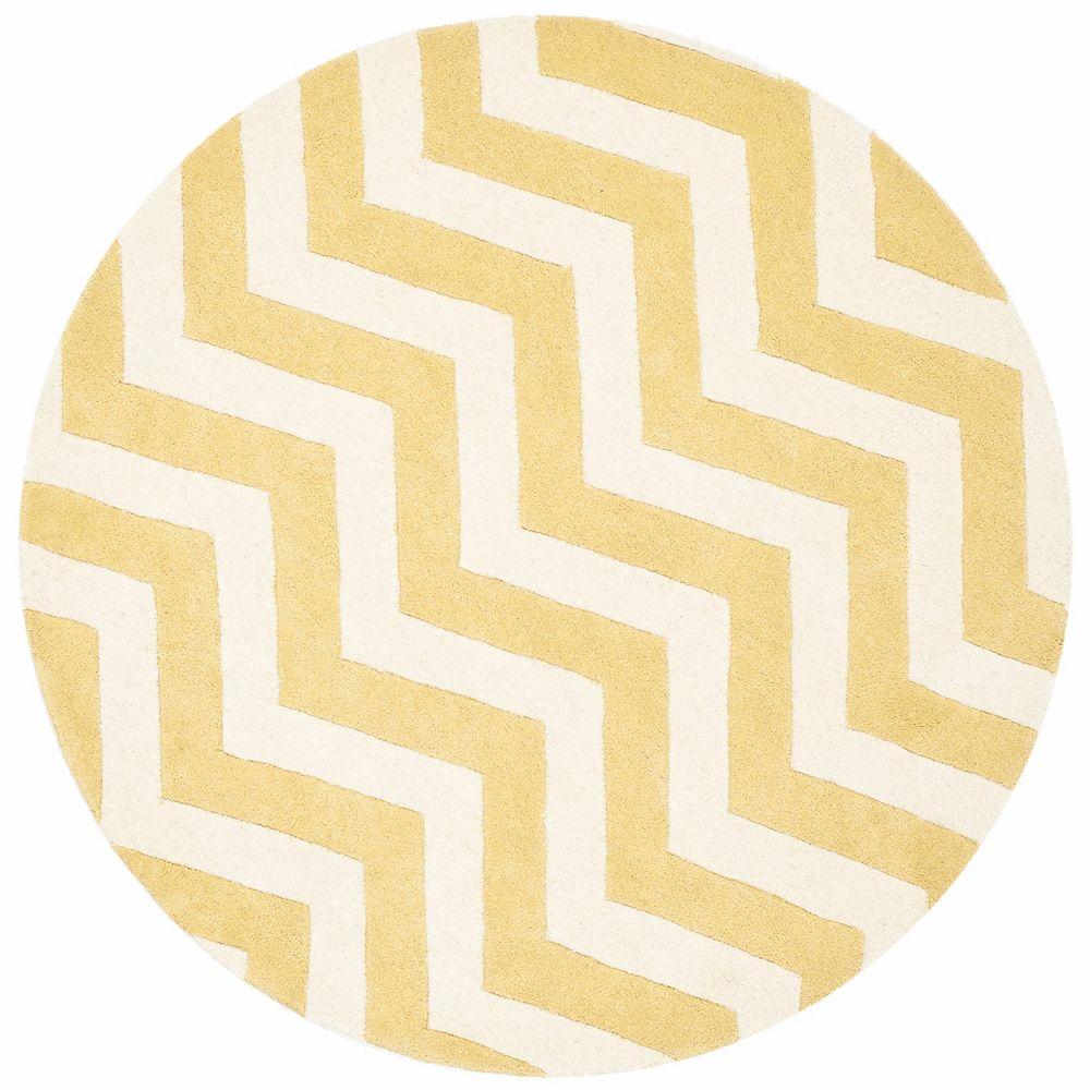Safavieh Tapis d'intérieur rond, 5 pi x 5 pi, Chatham Lara, or clair / ivoire