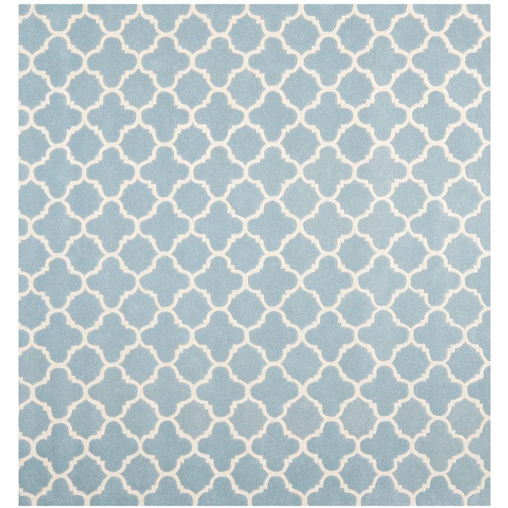 Safavieh Tapis d'intérieur carré, 7 pi x 7 pi, Chatham Leslie, bleu / ivoire