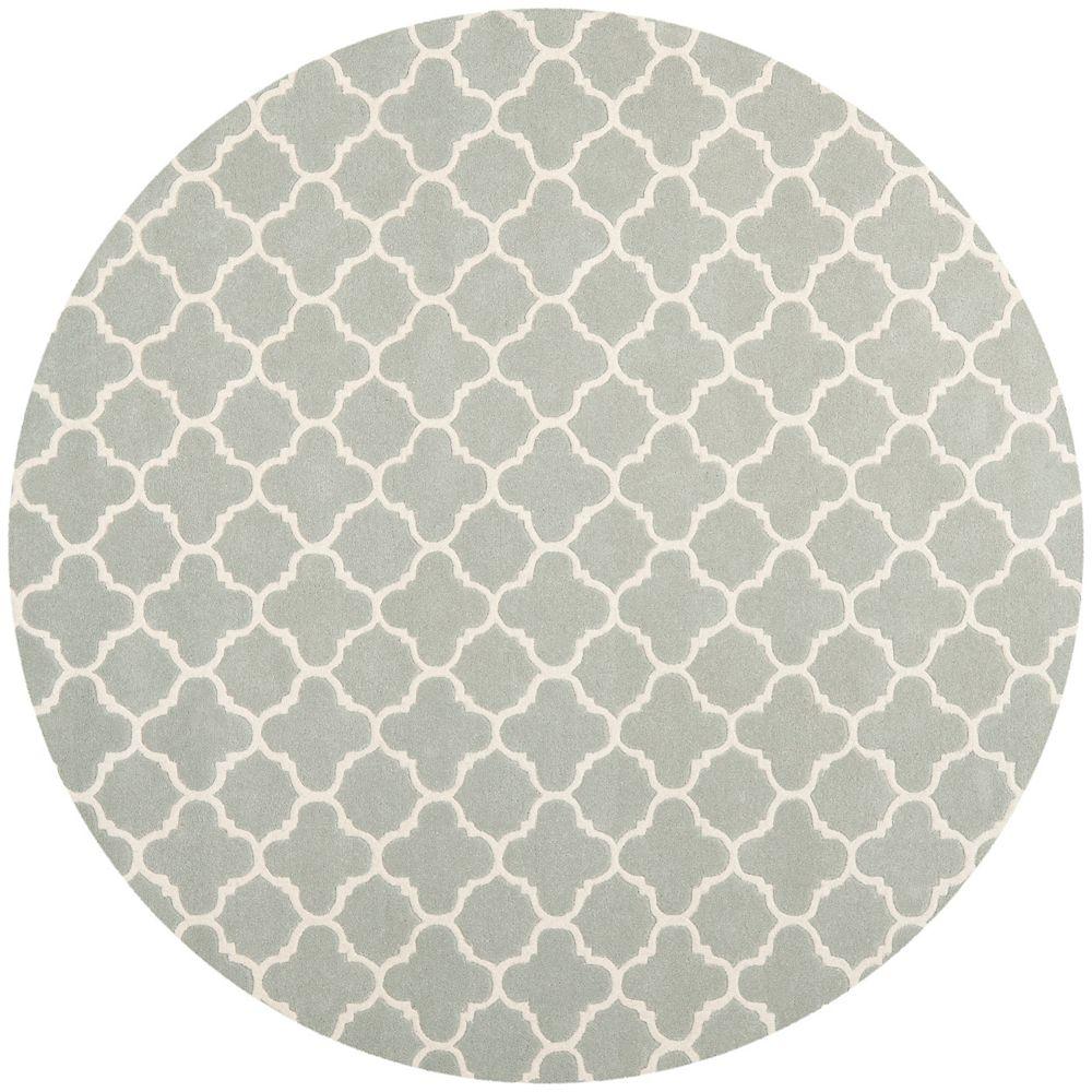 Safavieh Chatham Leslie Grey / Ivory 7 ft. x 7 ft. Indoor Round Area Rug