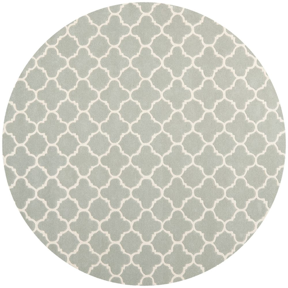 Safavieh Tapis d'intérieur rond, 9 pi x 9 pi, Chatham Leslie, gris / ivoire