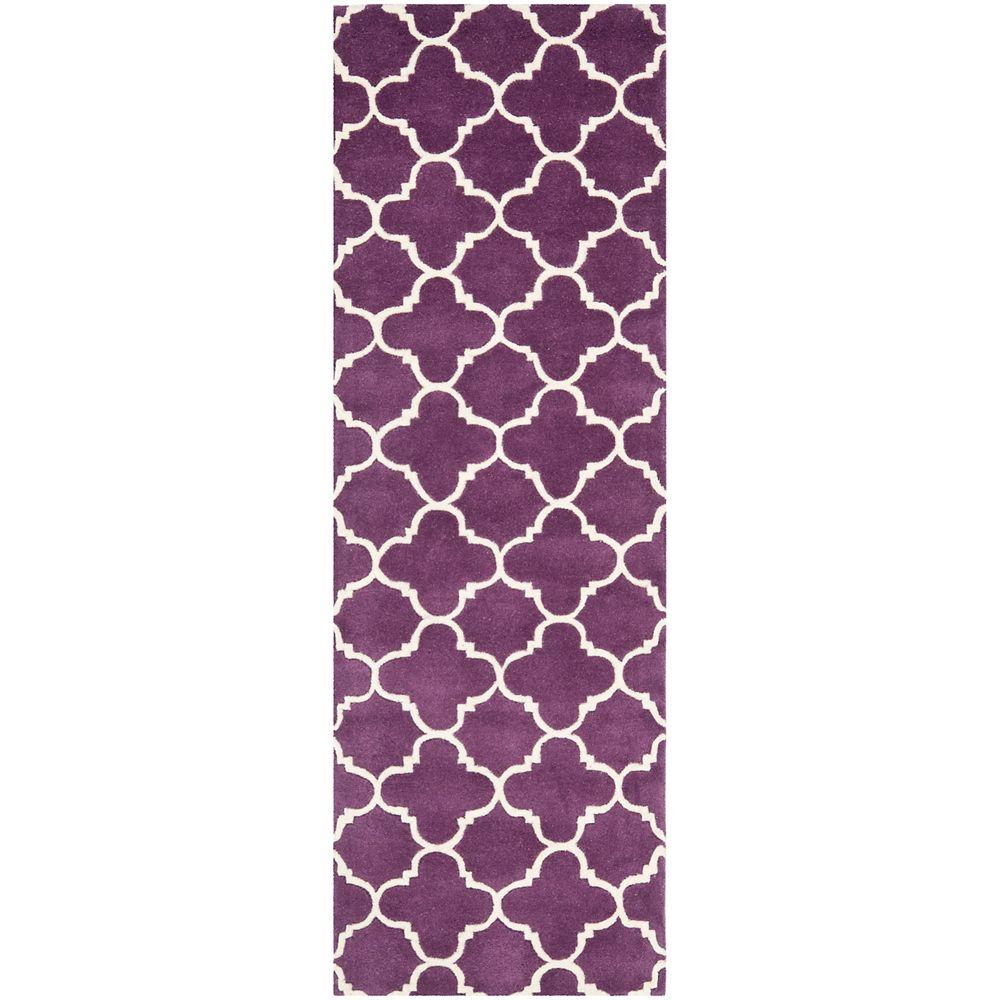 Safavieh Chatham Leslie Purple / Ivory 2 ft. 3 inch x 11 ft. Indoor Runner