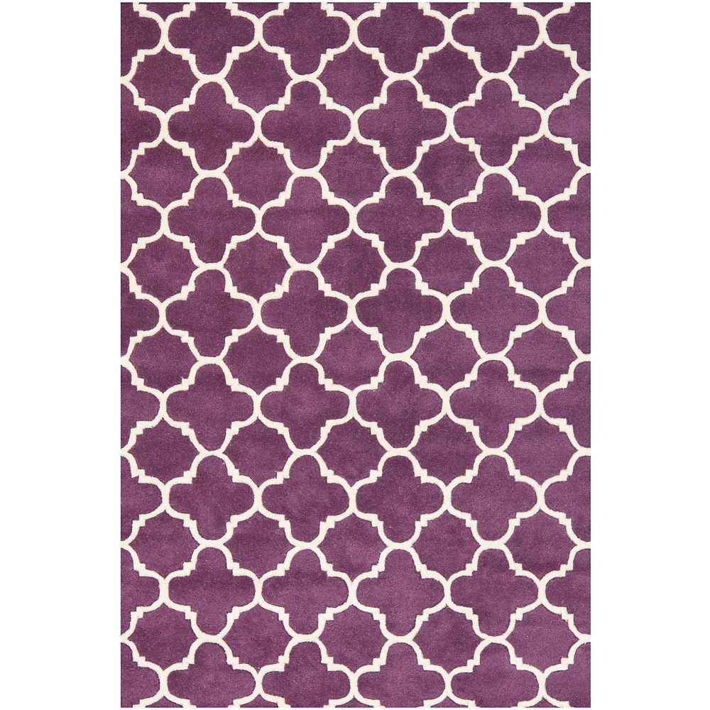 Safavieh Chatham Leslie Purple Ivory 4 Ft X 6 Ft Indoor Area Rug The Home Depot Canada