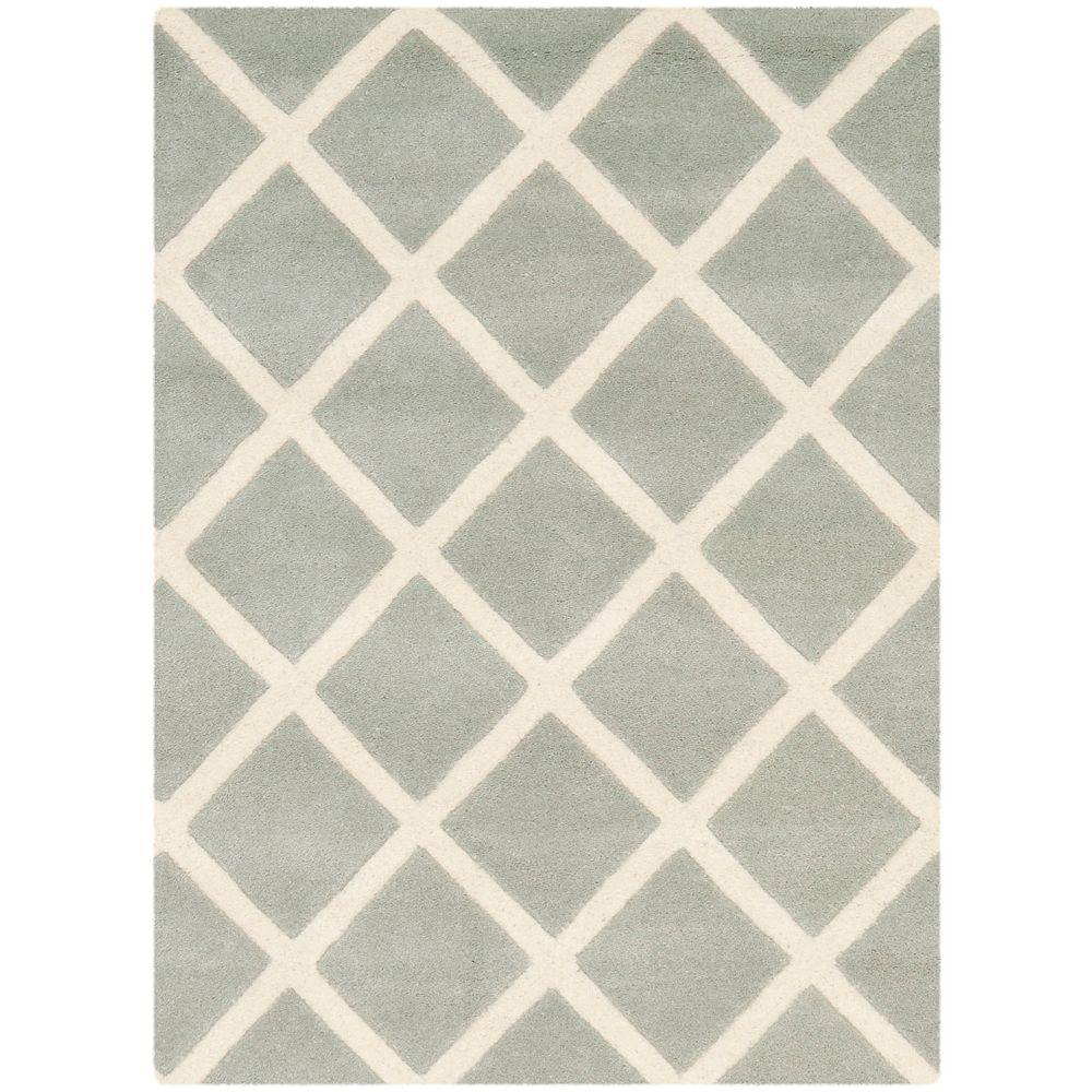 Safavieh Tapis d'intérieur, 2 pi x 3 pi, Chatham Lily, gris / ivoire