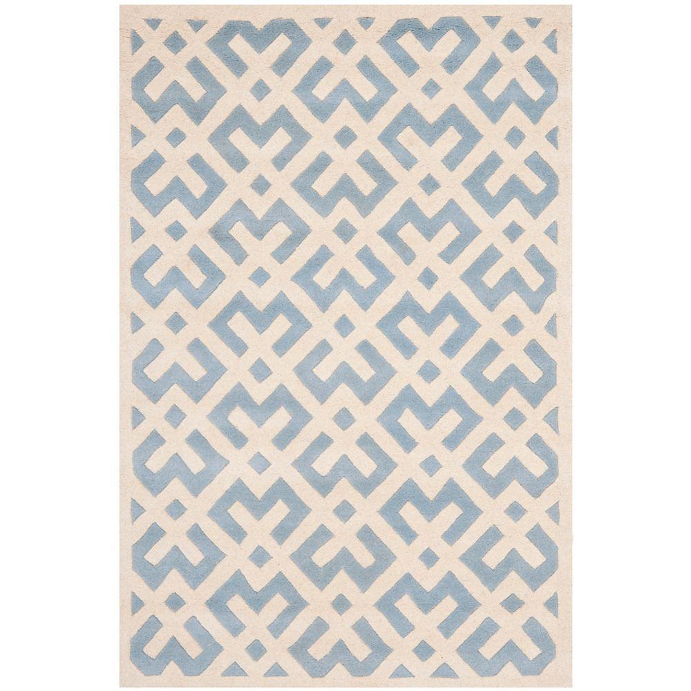 Safavieh Tapis d'intérieur, 6 pi x 9 pi, Chatham Oakly, bleu / ivoire