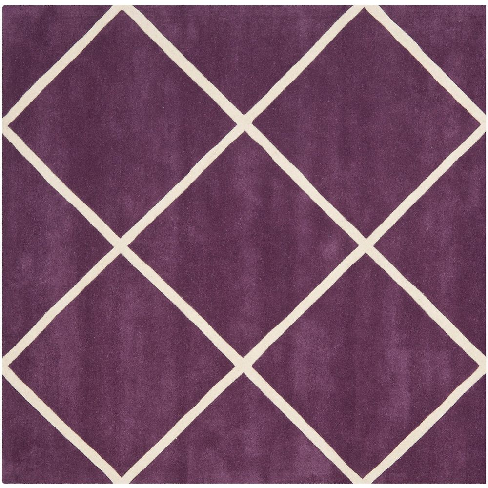 Safavieh Chatham Peter Purple / Ivory 7 ft. x 7 ft. Indoor Square Area Rug