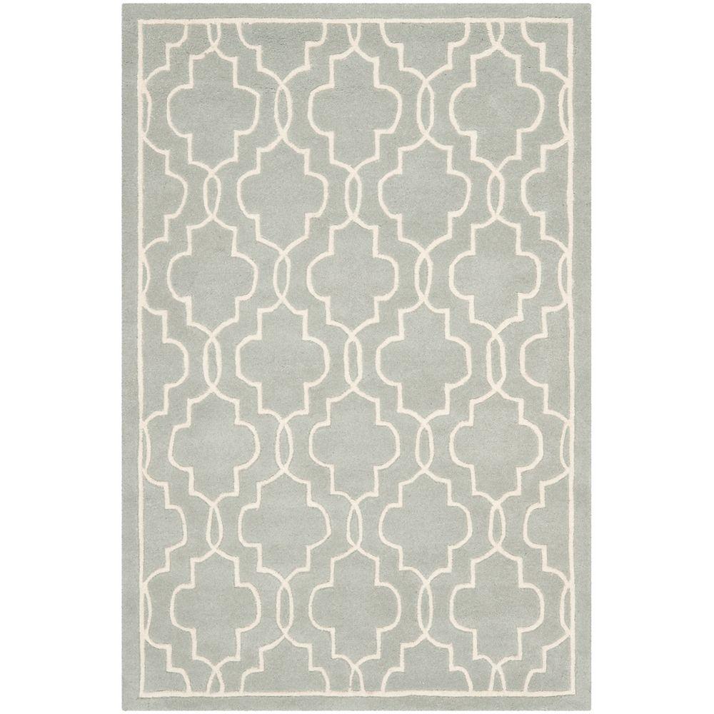 Safavieh Tapis d'intérieur, 4 pi x 6 pi, Chatham Pascal, gris / ivoire